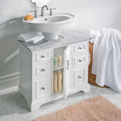 Pedestal Sink Cabinet With Marble Top Improvements