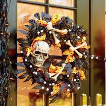 skull and bones halloween wreath
