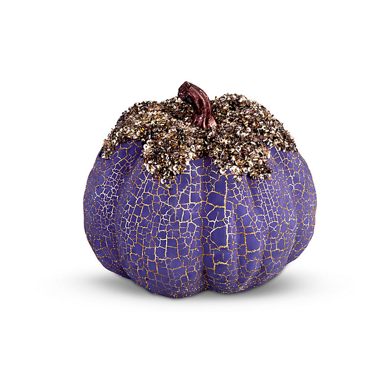 Purple Beaded Fall Pumpkin Decoration