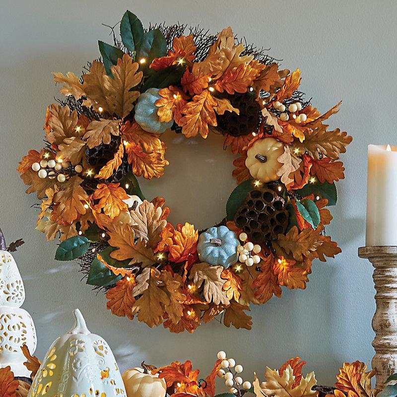 blue harvest moon fall wreath