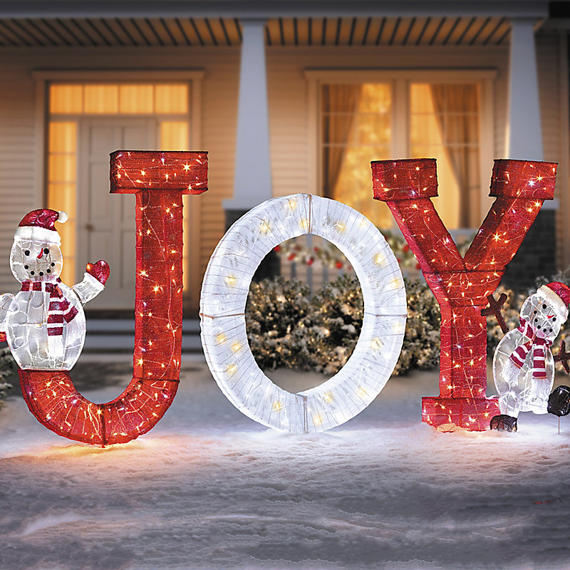 collapsible joy with snowman christmas yard decoration