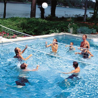 Two in one swimming pool game set water basketball pool volleyball for Games to play in swimming pool