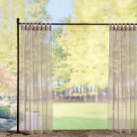 Tab Top Sheer Voile Outdoor Curtain Panel 54Wx84L Taupe