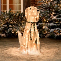 pre lit tinsel dog christmas decoration labrador - Outdoor Dog Christmas Decorations