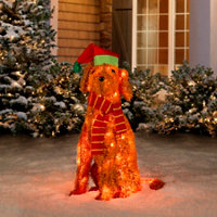 pre lit tinsel dog christmas decoration labradoodle - Labrador Outdoor Christmas Decoration