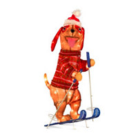 lighted tinsel dog skiing outdoor christmas decoration