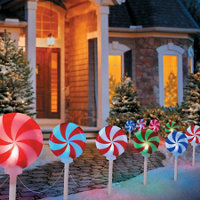 peppermint candy path lights outdoor christmas decoration set of 5