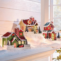 lighted christmas paper houses set of 3 - Lighted Christmas Houses