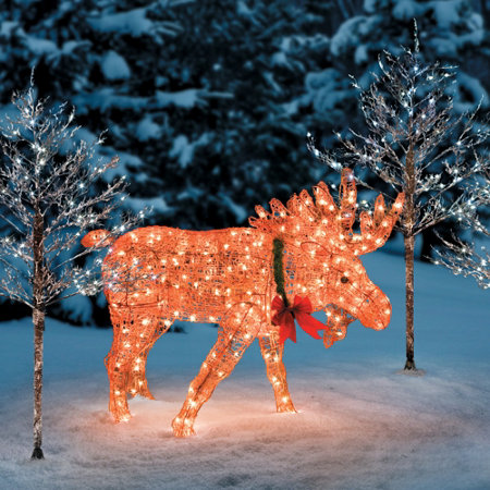 christmas moose animated yard art