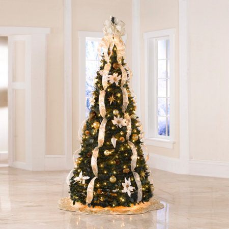 champagne gold pre decorated pull up tree