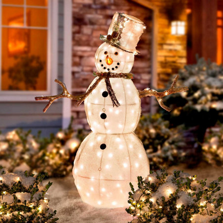 Lighted snowy outdoor snowman workwithnaturefo