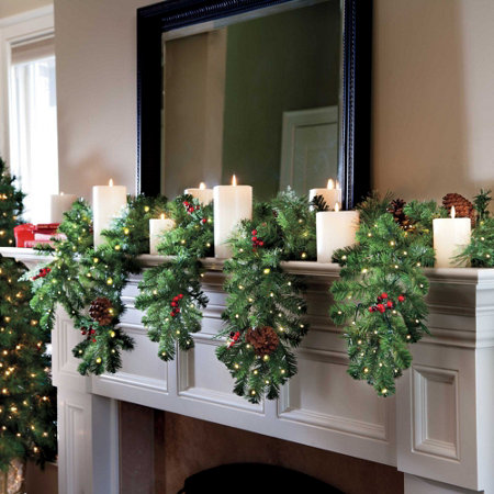 6 cascading mantle garland with lights