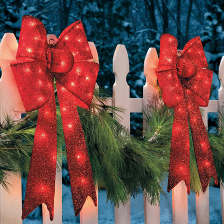 30 lighted tinsel bow