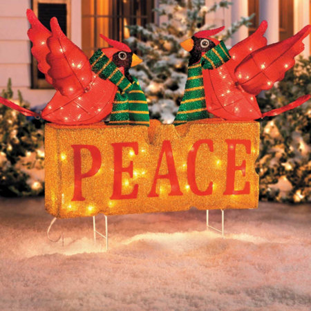 peace with cardinals outdoor christmas decoration - Peace Outdoor Christmas Decorations