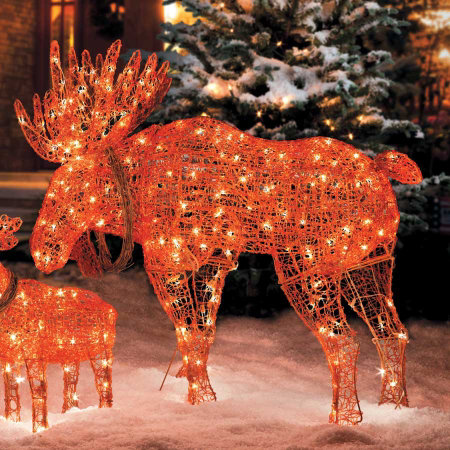 lighted wireframe moose christmas decoration