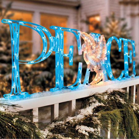 led peace outdoor christmas decoration with holographic dove - Hologram Outdoor Christmas Decorations