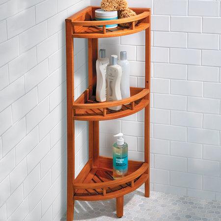 Teak Corner Stand Shelf Unit | Improvements