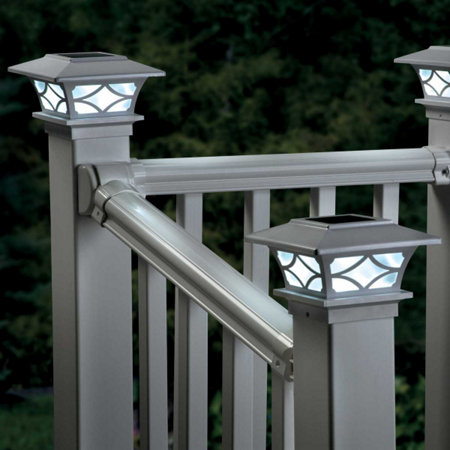 Solar post cap lights set of 2 white improvements solar post cap lights set of 2 white mozeypictures Image collections
