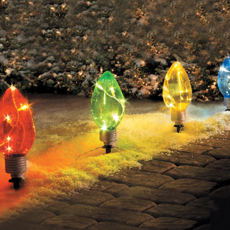 led lighted christmas bulb pathway markers - Christmas Stake Lights