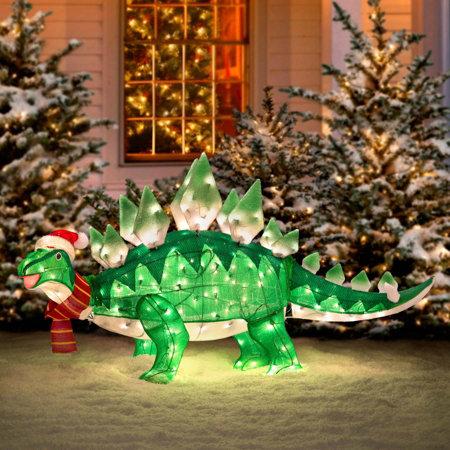 Pre Lit Animated Tinsel Dinosaur Christmas Yard Decoration