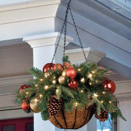 regal pre lit led christmas hanging basket - Christmas Hanging Baskets