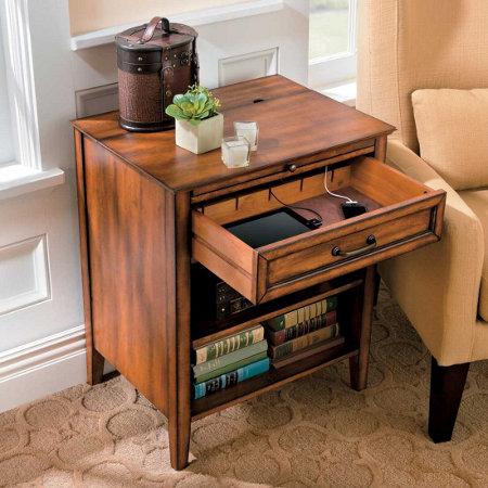 Side Table With Charging Station Free Surge Protector