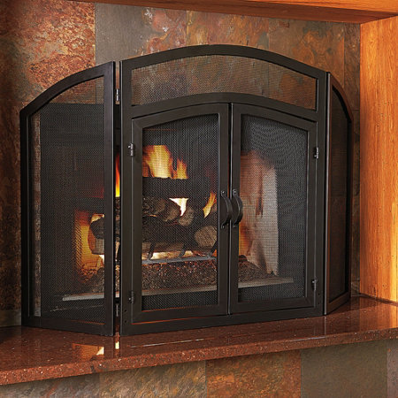 Add protection and beauty to your fireplace with the 3-Panel Wrought Iron Fireplace Screen. This fireplace accessory has doors for easy access.