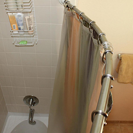 Brushed Nickel Rotating Curved Shower Curtain Rod | Improvements