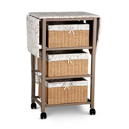 Deluxe Wood Wicker Ironing Board Center With Baskets Tyres2c