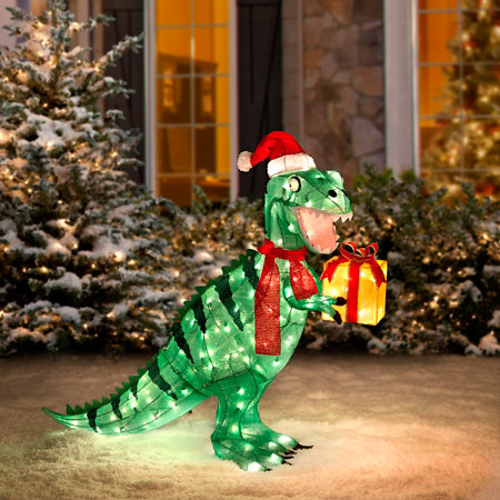 Pre Lit Animated Tinsel Dinosaur Christmas Yard Decoration