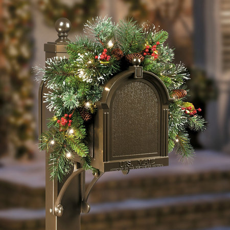 winter pine pre lit mailbox christmas decor 3