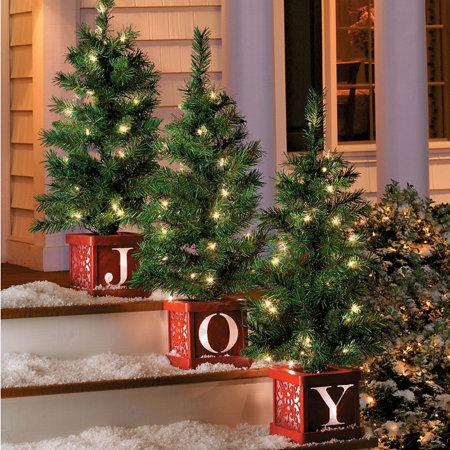 Pre Lit Joy Indoor Outdoor Christmas Trees Set Of 3