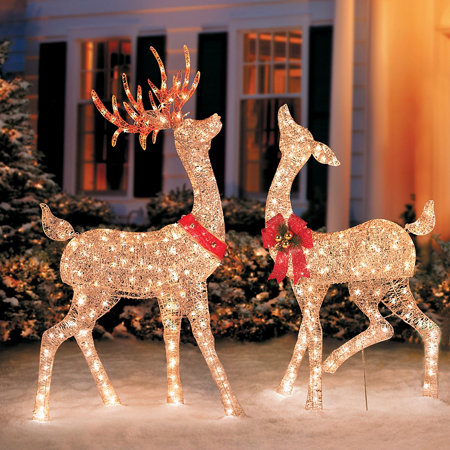 Glittering champagne reindeer improvements catalog for Outdoor deer christmas decorations