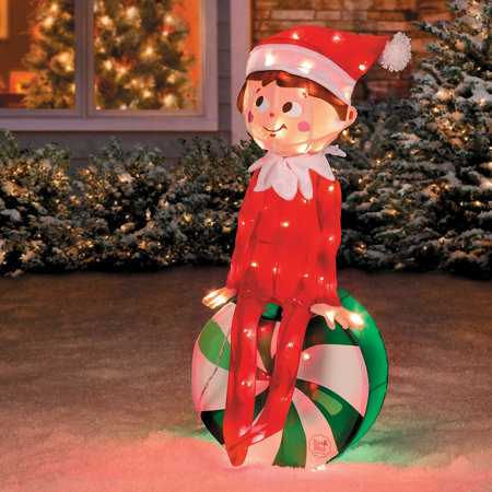elf on the shelf peppermint candy christmas yard decor
