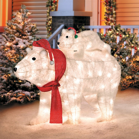 mother and baby pre lit polar bears christmas decoration - Pre Lit Polar Bear Christmas Decoration Set Of 3