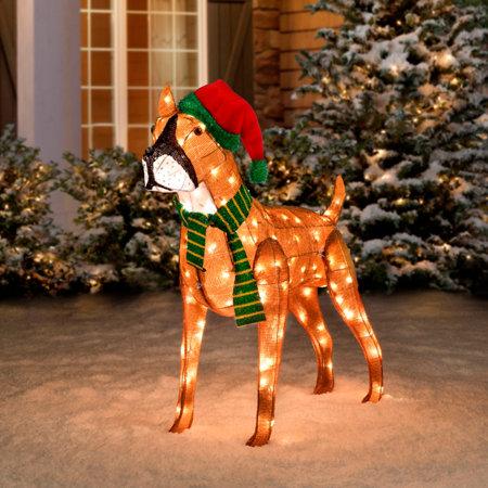 Pre lit tinsel dog christmas decoration boxer for Cat outdoor christmas decorations