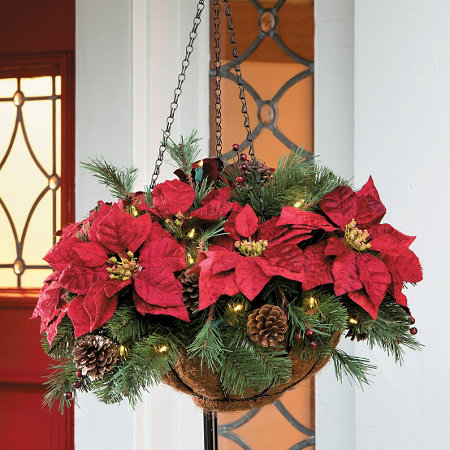 pre lit poinsettia christmas hanging basket - Poinsettia Christmas Decorations