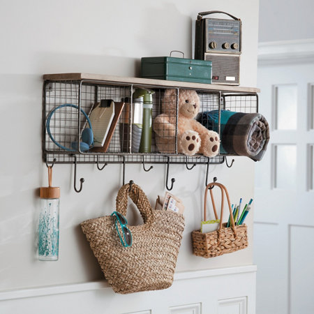 Wood Wire 4 Cube Organizer