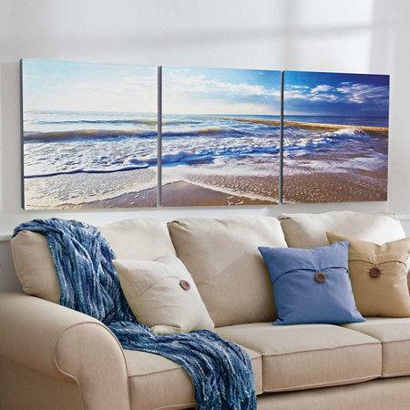sandy beach triptych canvas prints set of 3 improvements