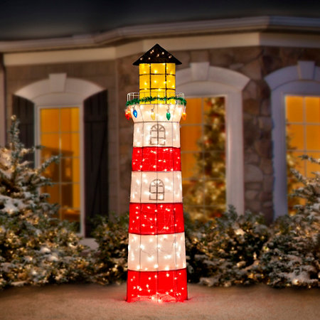 pre lit lighthouse christmas decor - Christmas Lighthouse Decorations
