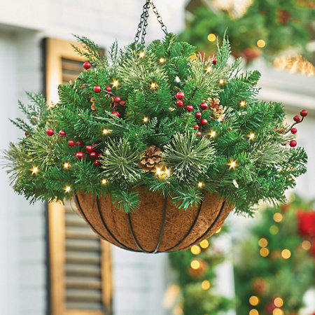 pre lit classic lighted christmas hanging basket - Hanging Lighted Christmas Decorations
