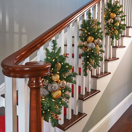gold and silver lighted staircase christmas swag