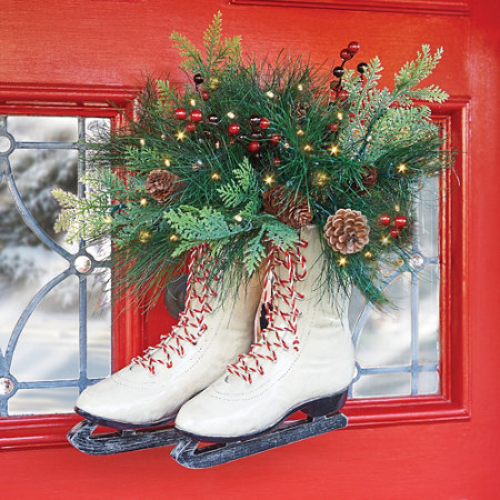 Pre Lit Decorated Ice Skates Door Wreath