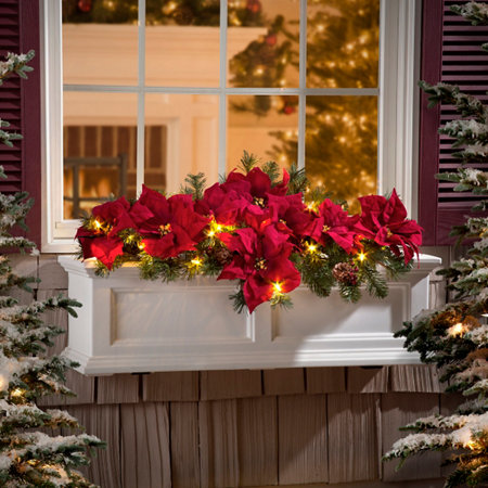pre lit poinsettia christmas greenery window box filler - Window Box Christmas Decorations