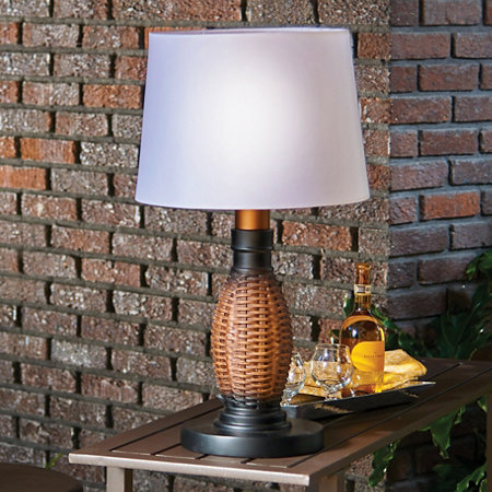 Wicker Battery Operated Outdoor Table Lamp
