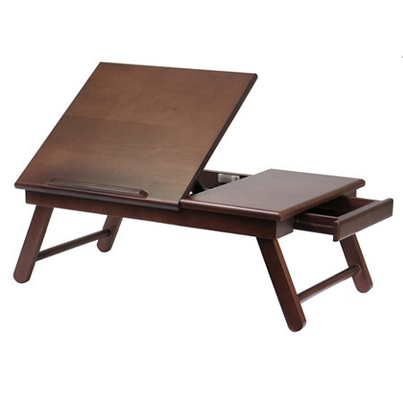 Walnut Lap Desk Bed Tray With Drawer