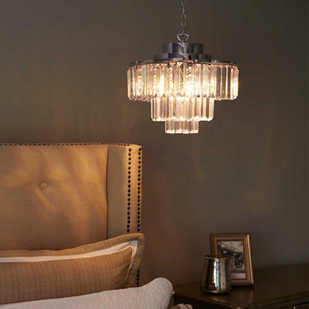 Cascading 3 tier battery operated chandelier with remote
