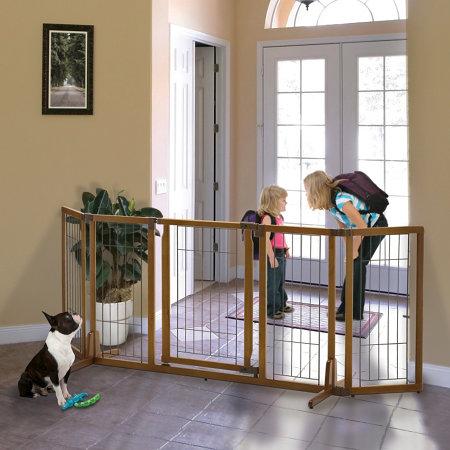 Wide Premium Plus Freestanding Dog Gate With Door Improvements