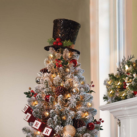 glittering top hat christmas tree topper