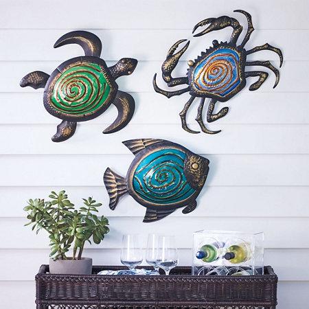 Metal Sea Life Outdoor Wall Decor
